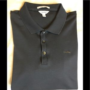 Calvin Klein Sz M Liquid Cotton Gray Polo  Shirt